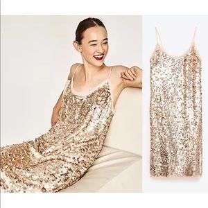ZARA WOMAN STUDIO Sequin Rose Gold Nude Dress XS-S